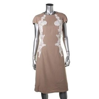 Anne Klein Womens Lace Trim Cap Sleeves Wear to Work Dress - 16