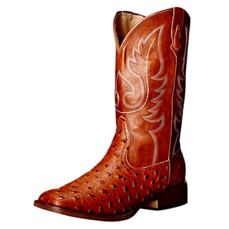 26557cf8ea2 Roper Western Boots Womens Ostrich Square Toe Tan