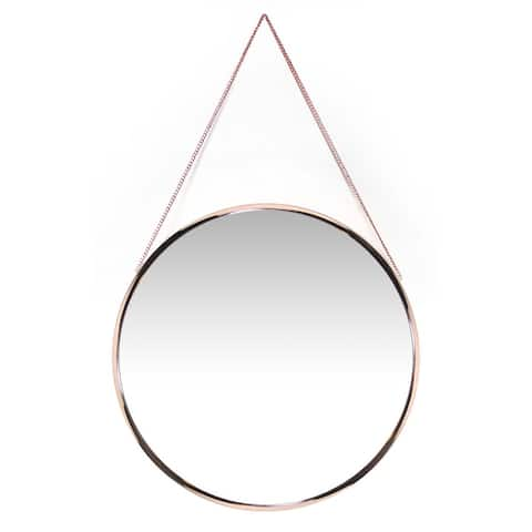 Carson Carrington Kabbo Pink Rose Gold Round Wall Mirror - Gold/Copper - 19 x 21 x 3