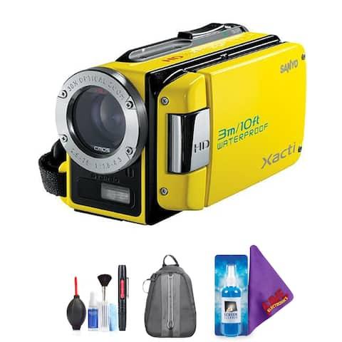 Sanyo Dual Camera Xacti 720p HD VPC-WH1 Camcorder (Yellow) + Pro Accessories Bundle