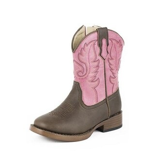 Roper Western Boots Girls Square Toe Pink Brown 09-017-1900-1702 PI