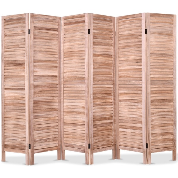 6 Panels Classic Venetian Wooden Slat Room Screen-Brown