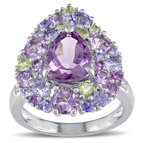 Miadora Tanzanite Rose de France Peridot Amethyst and Diamond Accent Pear-Cut Cluster Cocktail Ring