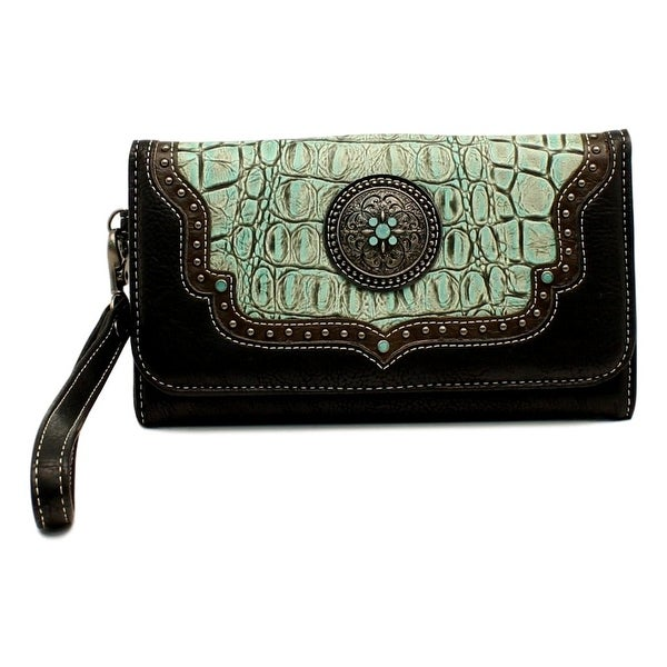 "Blazin Roxx Western Wallet Womens Desiree Clutch Turq Black - 7 1/2"" x 4"""