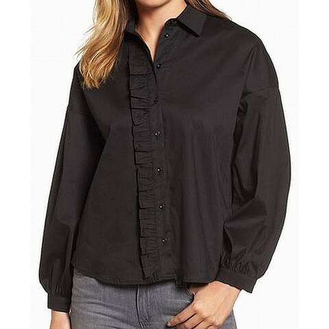 Gibson Black Women's Size Medium M Ruffled-Trim Solid Button Down Shirt