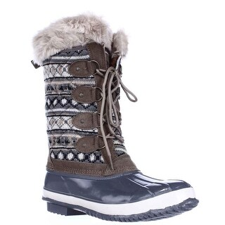 Khombu Melanie Waterproof Winter Boots, Grey/Tan