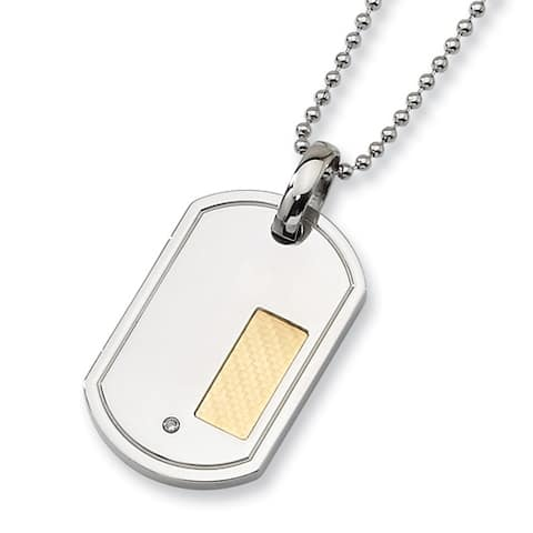 Chisel Gold-Plated Stainless Steel and Diamond Dogtag and 24 Inch Bead Chain (2 Mm) - 24 In