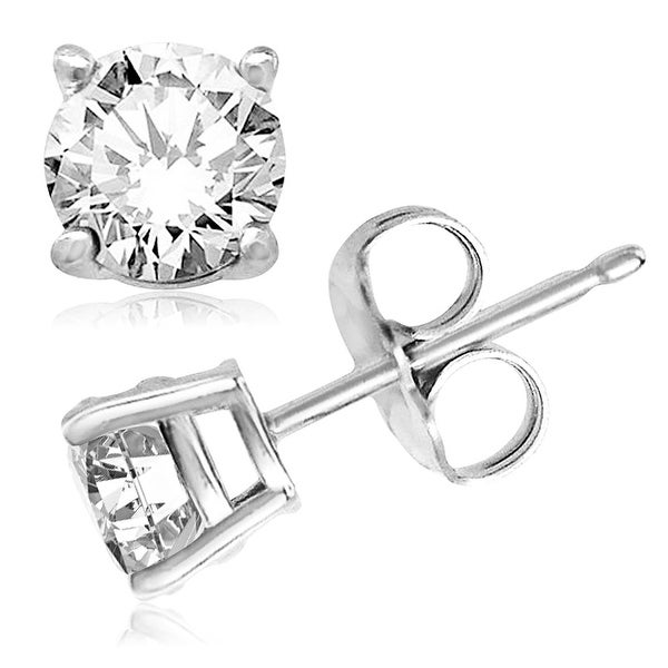 Sterling Silver Round Cubic Zirconia Gem Stud Earrings - 5mm