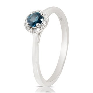 0.37 Ctw Classic Round Diamond Engagement Ring W/ 0.30 Carat Blue Diamond