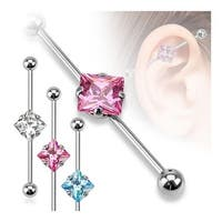 Square CZ 316L Surgical Steel Industrial Barbell (Sold Individually)