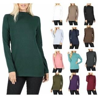 NioBe Clothing Womens Long Sleeve Cotton Mock Neck Top
