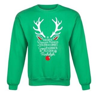 Silhouette Reindeer Names - Christmas Reindeer Snowman Adult Crew Fleece - Green