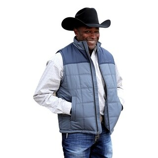 Cinch Western Vest Mens Poly Fill Zip Front Pockets Blue