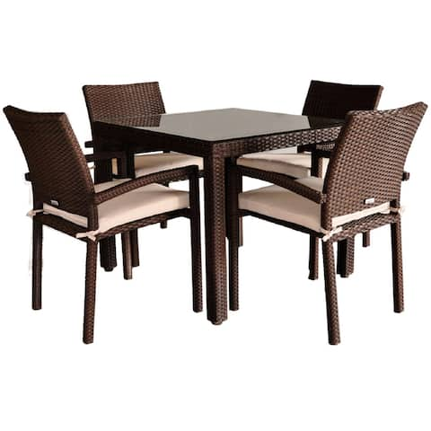 Liberty 5-Piece Outdoor Dining Set Wicker Square Patio Furniture with Off-White Cushions