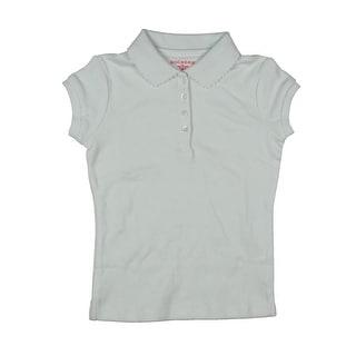 Dockers Girls Eyelet Trim Solid Uniform Shirt - M