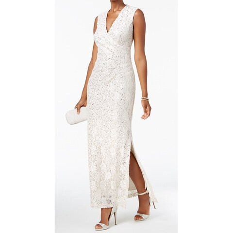Connected Apparel Champagne Women's Size 6 V-Neck Sequin Lace Gown