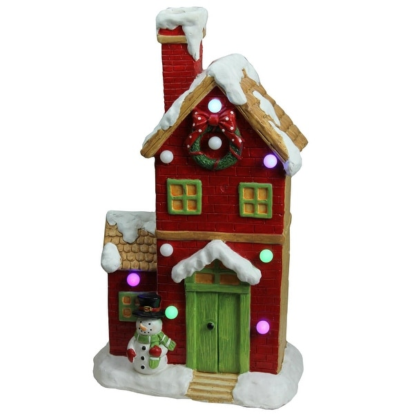 """21"""" Christmas Morning Pre-Lit LED Snow Covered House with Snowman Musical Christmas Tabletop Decoration"""