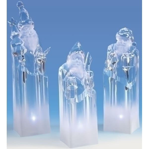 "Pack of 3 Icy Crystal LED Lighted Santa Claus Block Figures 8.5"" - CLEAR"