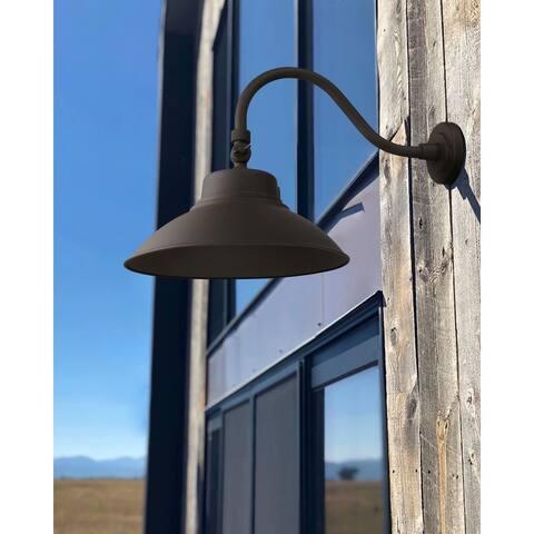 2 Pack 14 Inch 40W Dusk to Dawn LED Gooseneck Barn Light, 5000K Brown