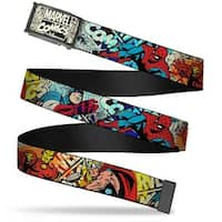 Marvel Comics marvel Comics Logo Comic Scenes Fcg White Black  Chrome 4 Web Belt