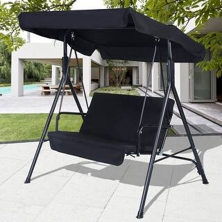 Costway 2 Person Outdoor Patio Swing Canopy Awning Yard Furniture Hammock Steel Black|https://ak1.ostkcdn.com/images/products/is/images/direct/acf9855adda5739177c6c85129f52376138c15f5/Costway-2-Person-Outdoor-Patio-Swing-Canopy-Awning-Yard-Furniture-Hammock-Steel-Black.jpg?impolicy=medium