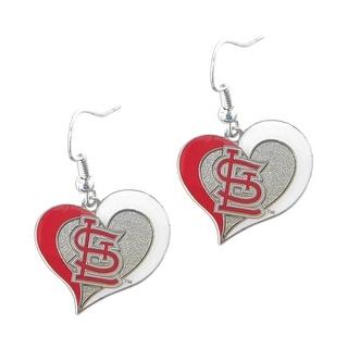 MLB St Louis Cardinals Swirl Heart Shape Dangle logo Earring Set Charm Gift
