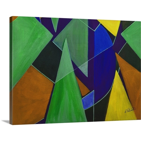 """""""Triangle Abstract Blue Orange"""" Canvas Wall Art"""