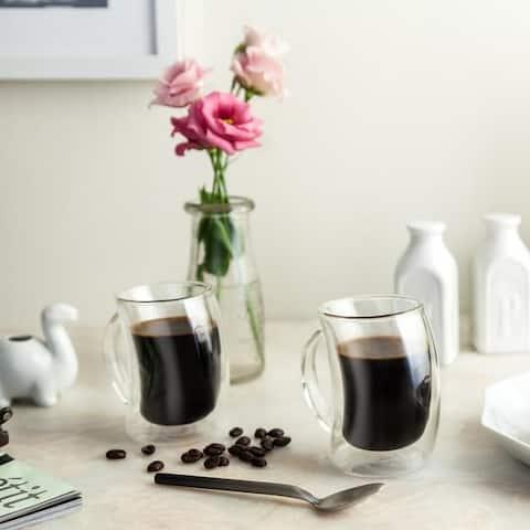 JoyJolt Caleo Insulated Coffee/ Tea Mugs, Double Wall Glasses, Set of 2 10 oz