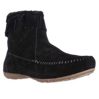 Sporto Gianna Fringe Moccasin Ankle Boots - Black