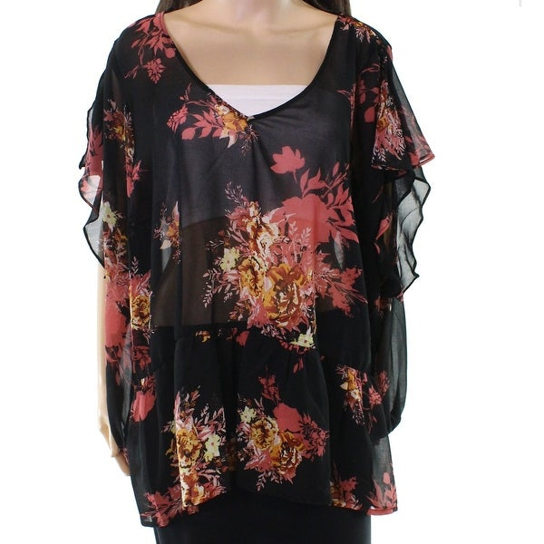 fdd6c330fe7d7 Shop Halogen Black Women s Size 2X Plus Floral Ruffle Trim V-Neck Blouse -  Free Shipping On Orders Over  45 - Overstock.com - 22118083