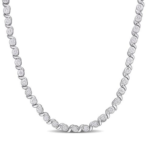 Miadora Sterling Silver 1/2ct TDW Diamond Tennis Link Necklace - 24 inch x 4.1 mm x 5.4 mm - 24 inch x 4.1 mm x 5.4 mm