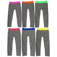 Women 6 Pack Heather Space Dye Contrast Color Band Athletic Sports Capris Leggings
