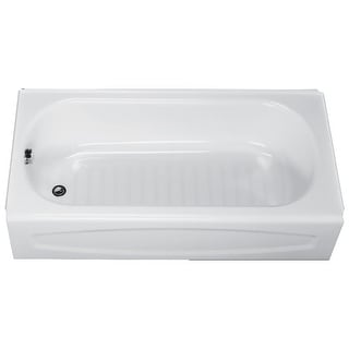 "American Standard 0255.212  New Salem 60"" Enameled Steel Soaking Bathtub with Left Hand Drain - White"