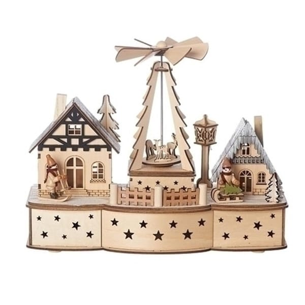"10"" Beige and Brown 2 Piece LED Revolving Windmill with Christmas Scene Table Toppers"