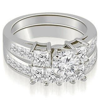2.85 CT Channel Set Princess & Round Diamond Engagement Set in 14KT - White H-I