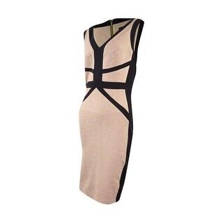 Jax Women's Midi Bodycon Sheath Dress - Beige/Black - 6