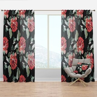 Designart Red Rose In Black Floral Curtain Panel On Sale Overstock 29625059