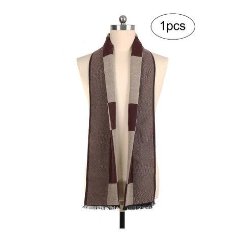 Men Plaids Warm Winter Soft Wrap Shawl Long Scarves Dark Beige+Brown - Dark Beige+Brown