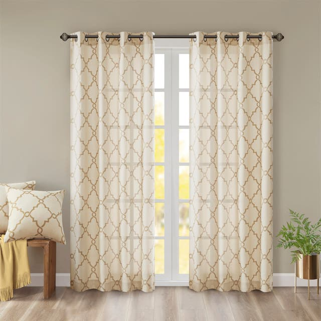 "Madison Park Westmont Fretwork Print Pattern Single Curtain Panel - 50""W x 108""L - Beige/Gold"