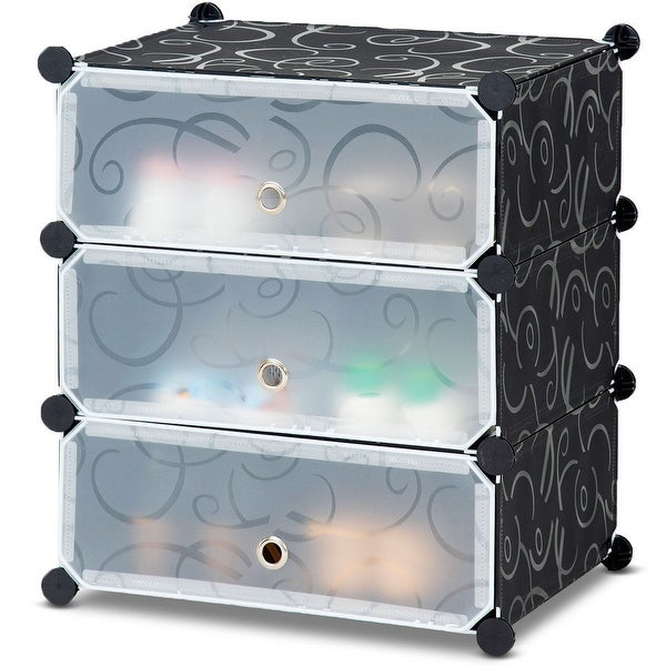Costway DIY 3 Cube Portable Shoe Rack Storage Cabinet 6 Pair Space Saving Organizer New