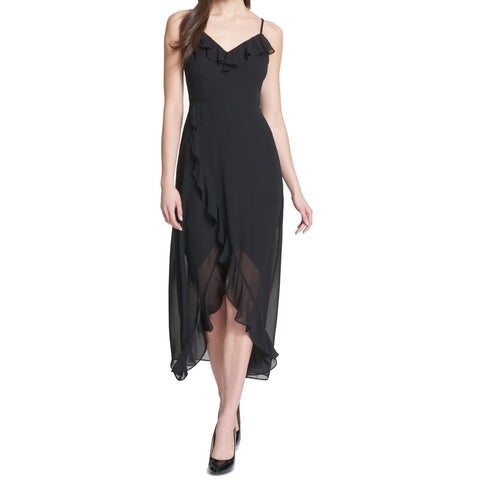 Kensie Black Women Size 8 Ruffle Assymetrical Chiffon Sheath Dress