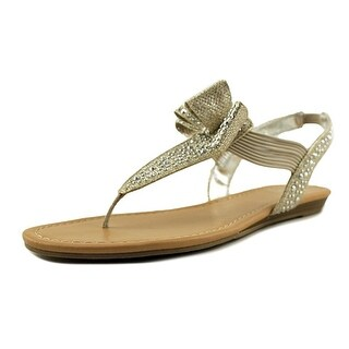 Material Girl MG35 Shayleen Rhinestone Bow T-Strap Sandals - Silver - 6.5