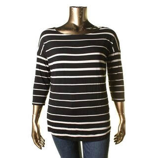 Tahari Womens Striped 3/4 Sleeves Pullover Top