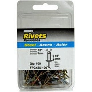 "FPC FPC42S-100 Short Steel Rivet 1/8"", 100/Pack"