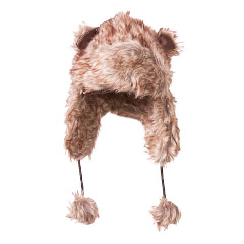 Youth Faux Fur Animal Ear Print Winter Trooper Cap w Pom String