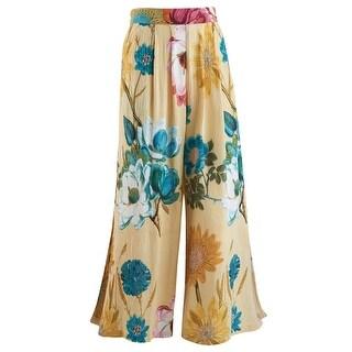 Women's Crinkle Crepe Flood Pants - Flower Print w/ Side Slits and Elastic Waistband