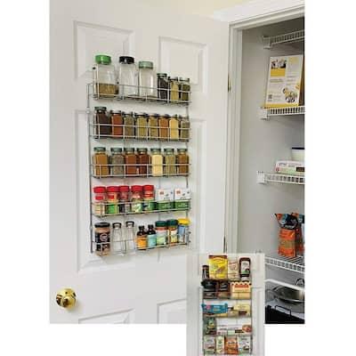 Evelots Spice Rack-5 Shelves-Wall/Door Mount-No Rust-Easy Clean-Up to 40 Bottles - Set of 1