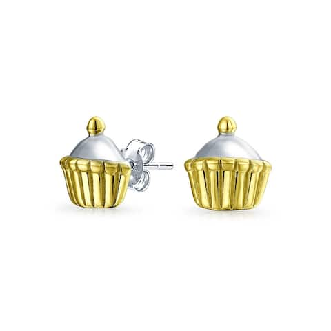 Birthday Cake Cupcake Stud Earrings Gold Plated Sterling Silver - .28