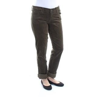 KUT $79 Womens New 1276 Green Corduroy Cuffed Boyfriend Casual Pants 6 B+B