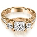 1.50 cttw. 14K Rose Gold Antique Three Stone Princess Diamond Engagement Ring - Thumbnail 0